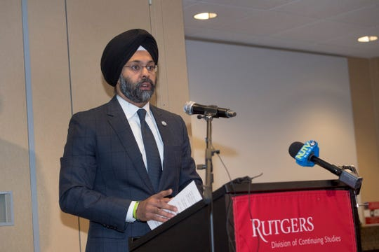 NJ Attorney General Gurbir Grewal speaks at the New Jersey Conference on Campus Sexual Violence at Rutgers University on Thursday, March 28, 2019.