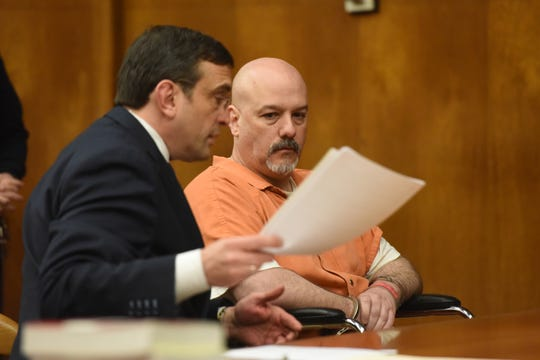 Convicted murderer Arthur Lomando was scheduled to be sentenced for first degree murder for stabbing his ex-girlfriend Suzanne Bardzell to death in an ambush outside her Midland Park home in 2015 before Judge Margaret Foti in Hackensack on March 28, 2019. The proceedings were postponed after Judge Foti relieved Lomando's attorney Anthony La Pinta, on left, from representing him, due to accusations from Lomando that he wanted to strangle him.