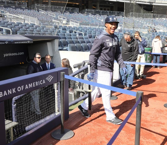 Miguel Andujar heads out for batting practice before the game.