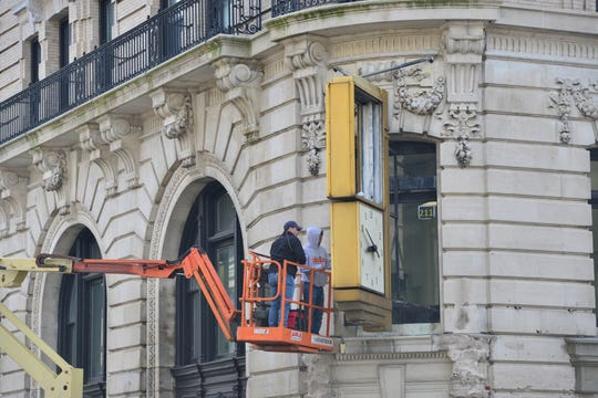 """The area around City Hall is being set up for a movie called """"The Hunt"""" in Paterson on Thursday March 28, 2019."""