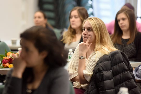 """Staff members of Jewish Family Service of Metrowest NJ attend a presentation by Lt. Scott Bartell of the Florham Park police department on """"Run, Hide and Fight"""" protocol used to deal with a violent intruder, developed by the Department of Homeland Security. Bartell presented to staff  in Whippany on March 28, 2019."""