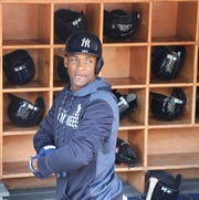 Miguel Andujar gets ready for batting practice before the game.
