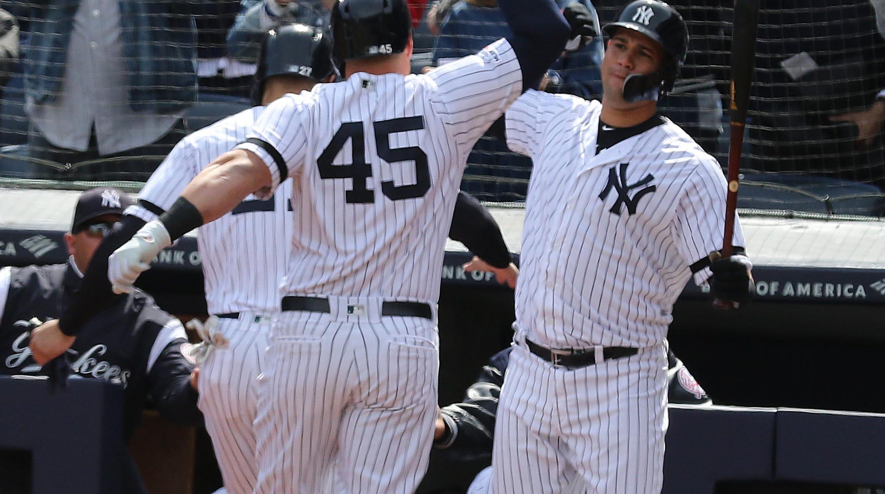 online retailer 857aa 4f5a7 Luke Voit hits first New York Yankees' home run of the season