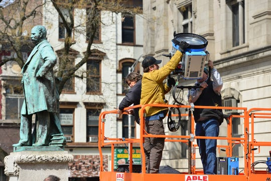 "The area around City Hall is being set up for a movie called ""The Hunt"" in Paterson on Thursday March 28, 2019."