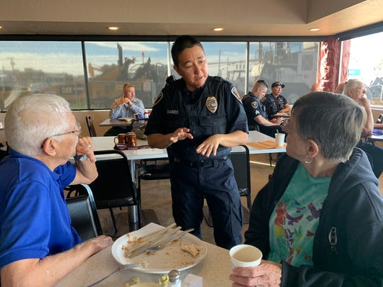 Coffee with a Cop isn't a new event for Las Cruces residents Joe and Judith Baca, pictured here speaking with Lt. Kiri Daines on Thursday, March 28, 2019, at Zia Cafè. Getting to know the officers who protect the community is important for the couple.