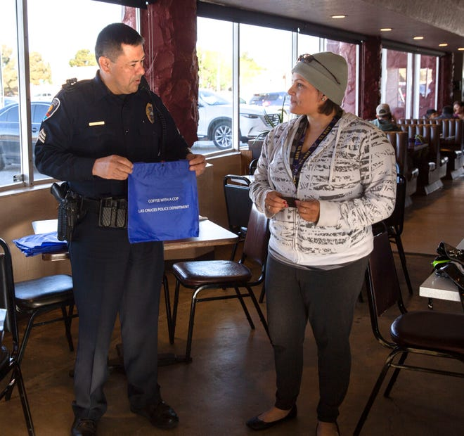 Las Cruces resident Cynthia Escalate was eating breakfast at Zia Cafè Thursday when she stopped by to thank Las Cruces Police Department officers for their service. Escalate said she is former military, and understands what a difficult job law enforcement officers have. March 28, 2019.