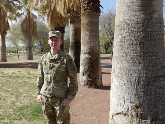 New Mexico National Guard Spc. Andrew Volgenin, 21, of Las Cruces relied upon his combat medic training to remain calm while providing medical aid a fellow passenger on an American Airlines flight across the Pacific Ocean.