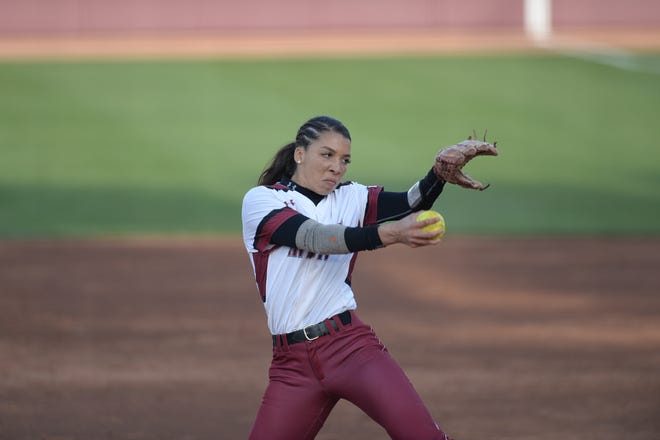 New Mexico State pitcher Kayla Green is 7-2 for the Aggies in the circle entering WAC play.