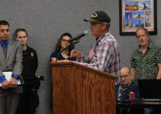 Mike Waybourn addresses the Aztec City Commission, Tuesday, March 26, 2019.