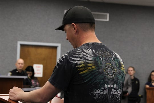 Bryant Banry said he ran from his house to the Aztec City Commission meeting after putting out a fire in his yard to encourage commissioners to pass a Second Amendment Preservation City resolution.