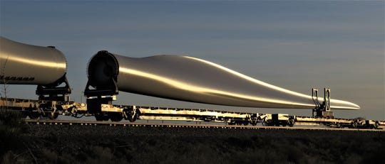 A caravan of wind turbine blades was captured as they were being transported across New mexico.