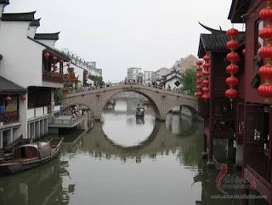 Qibao is an ancient water town.