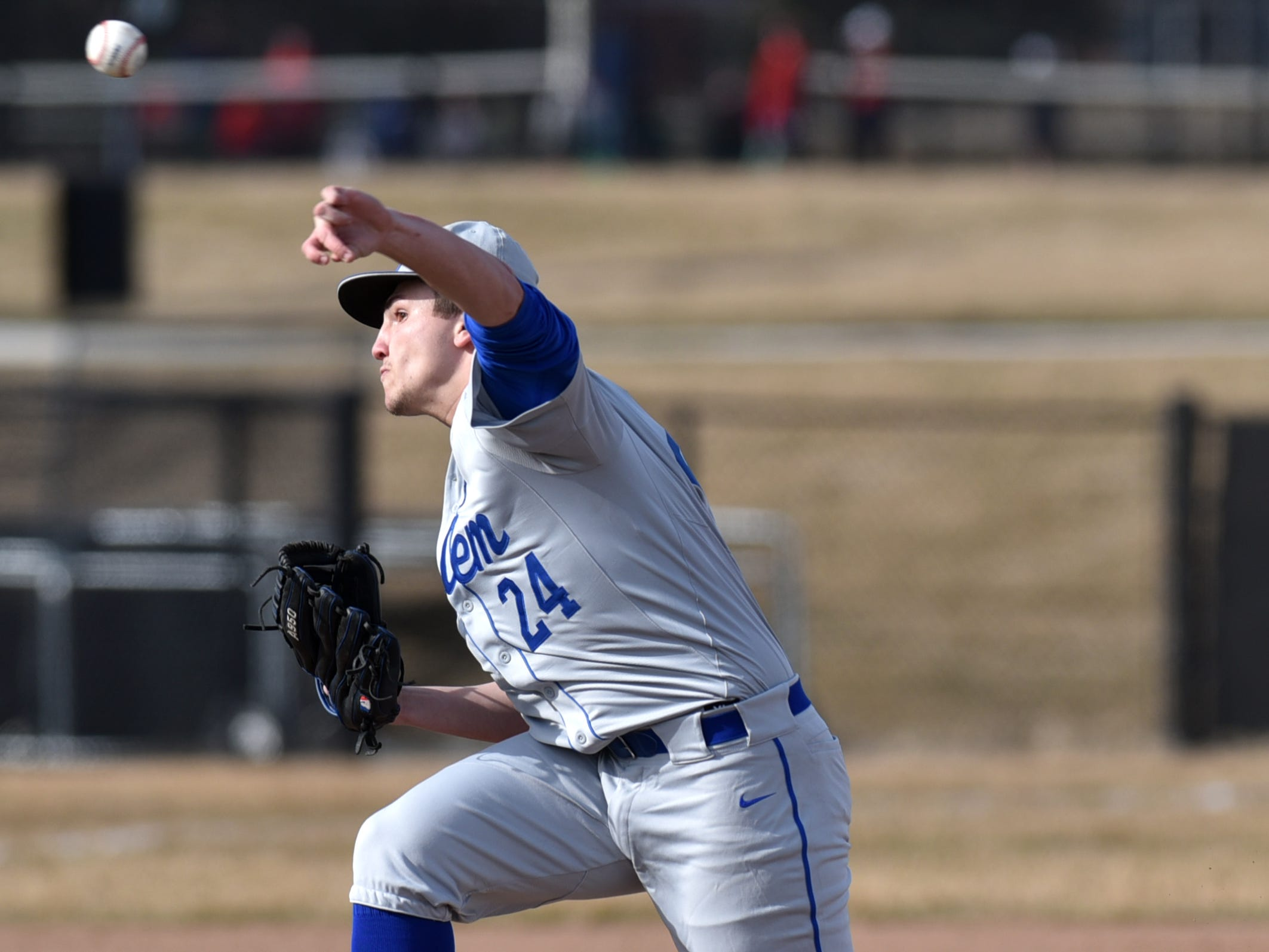 Salem Rock pitcher Owen Keyes pitches in their March 27 game against Plymouth.