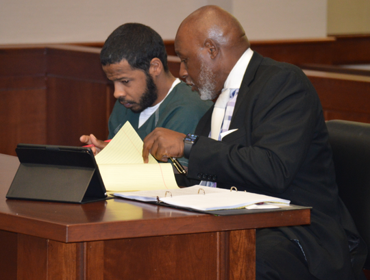 Robert Easley-Calloway appeared in Livonia's 16th District Court on Wednesday with his attorney Larry Polk.
