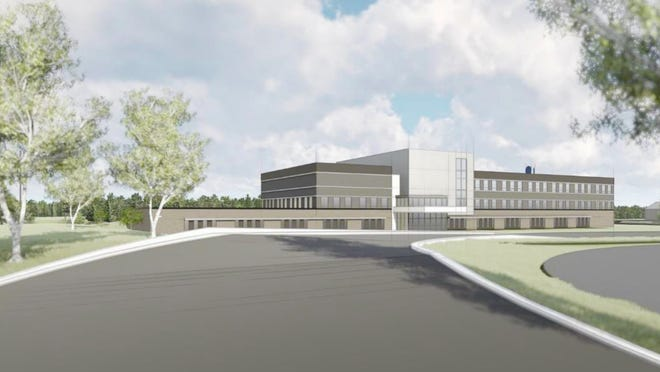 A rendering of the proposed new health center building at Schoolcraft College.