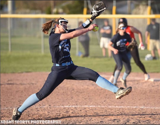 Stevenson sophomore pitcher Sophie Bater delivers a pitch in a game last season.