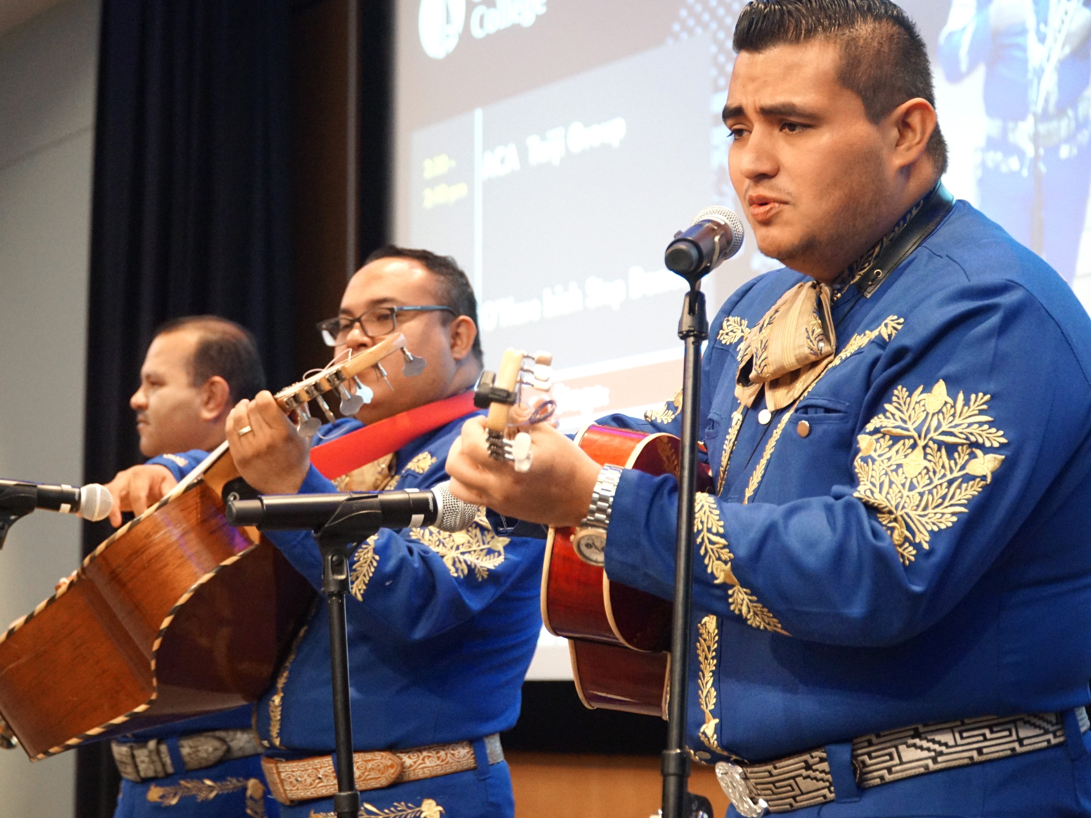 Roberto Pinzon, right, and other musicians from the Mariachi Jalisco Band, perform for the Multicultural Fair on March 28.
