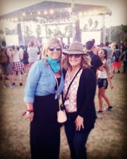 Katie Stice  (right) attends an early Coachella with her best friend, Melanie Hunter.