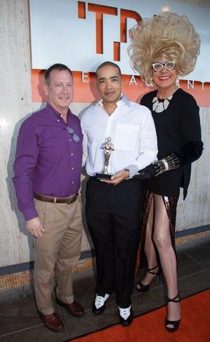 From left, Tom Gleeson, Donald Hogan and Bella da Ball.
