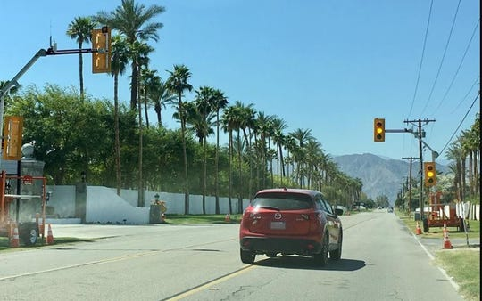 Temporary traffic signals are present near Monroe Street. They'll only be used in April during the Coachella Valley Music and Arts Festival and Stagecoach.