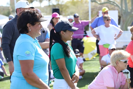 Pratima Sherpa of Nepal , center, was surrounded by LPGA stars when she visited the Bank of Hope FoundersCup in Phoenix last week. Sherpa is standing next to LPGA Hall of Famers Nancy Lopez, left, and Pat Bradley, kneeling to the right.