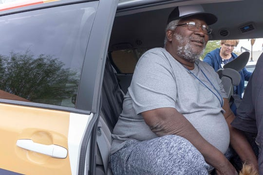 Army veteran Sylvestre Primous, 71, gets a ride to the VA hospital March 12, 2019. A new non-profit called Elaine helps people experiencing homelessness get to and from medical appointments.