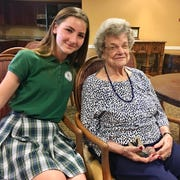 Meredith Scott, 12, with her great-grandmother and World War II veteran Carolyn Scott.
