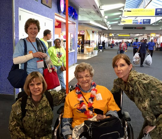 On her Honor Flight in 2016, Carolyn Scott and the other veterans were greeted in the airport in Baltimore by uniformed military personnel, including two women who thanked Carolyn for paving the way for them.