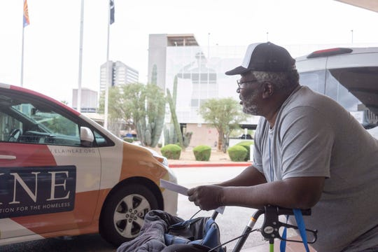 In this Arizona Republic file photo, Army veteran Sylvestre Primous, 71, gets a ride to the VA hospital March 12, 2019. Drivers are needed to help veterans in North Texas attend their medical visits in Oklahoma City.