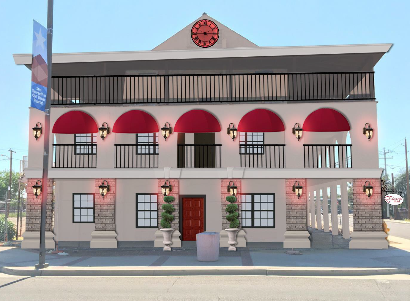 Peoria Planning and Zoning Commission documents show an approved design for the 101-year-old Edwards Hotel in Old Town.