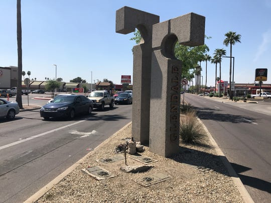 Pillars greet Glendale visitors near the corner of 43rd and Glendale avenues.