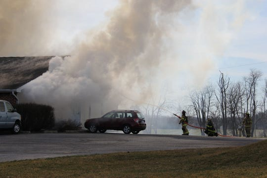 Fire crews battle a blaze that destroyed the Youth With A Mission building at 1275 Birch Road in South Lebanon Township on Wednesday, March 27, 2019.