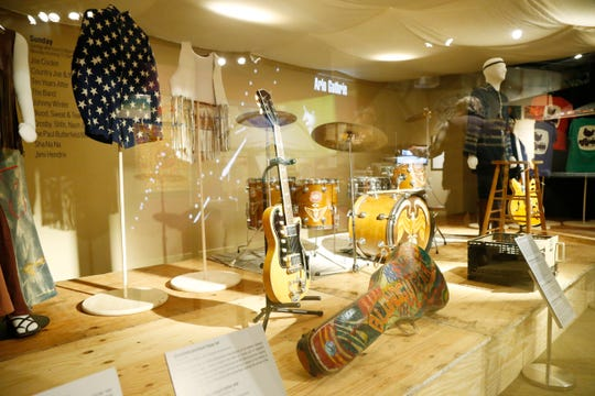 "Clothing and musical instruments from the original 1969 Woodstock Festival on display for the show, ""We Are Golden"" at Bethel Woods Center for the Arts on March 28, 2019."