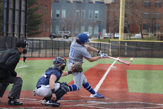 Freshman Hunter Cheek, a pitcher and infielder, swings during one of the Wilson College baseball team's first games in March.