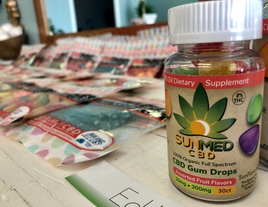 A variety of CBD edibles are displayed at Your CBD Store in Chambersburg the morning of Jan. 15, 2019. Tobi Brechbiel, owner of the local business, said he has seen CBD help customers in different ways, including those with anxiety and cancer.