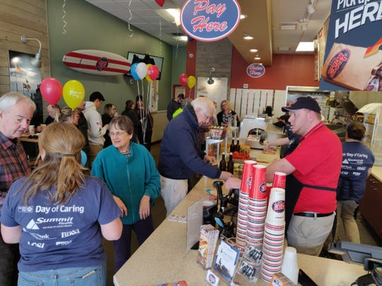 Locals buy subs to help support the United Way of Franklin County's Day of Giving on Wednesday at Jersey Mike's Subs in Chambersburg. The event raised more than $6,000.