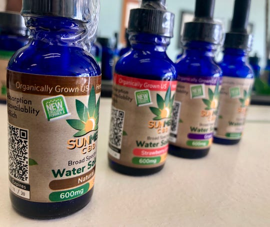 A variety of liquid CBD products are displayed at Your CBD Store in Chambersburg the morning of Jan. 15, 2019. Tobi Brechbiel, owner of the local business, said he has seen CBD help customers in different ways, including those with anxiety and cancer.