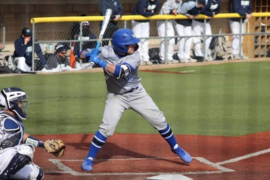 Freshman Connor Martin, an infielder, prepares to swing during one of the Wilson College baseball team's first games in March.
