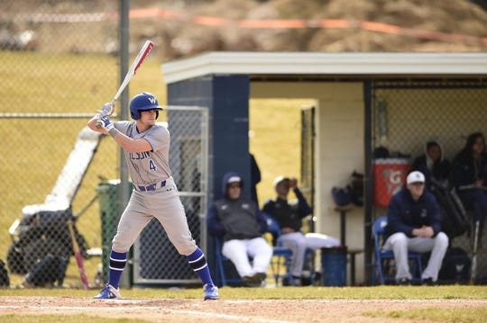 Freshman Joseph Cofer, an outfielder, prepares to swing at a ball during one of the Wilson College baseball team's first games in March.