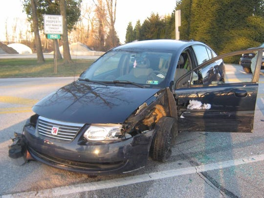 Police said Donald Waltman crashed his car near West Manheim Elementary Wednesday, March 27. Waltman allegedly fought with police after the crash. Photo courtesy of West Manheim Township Police.