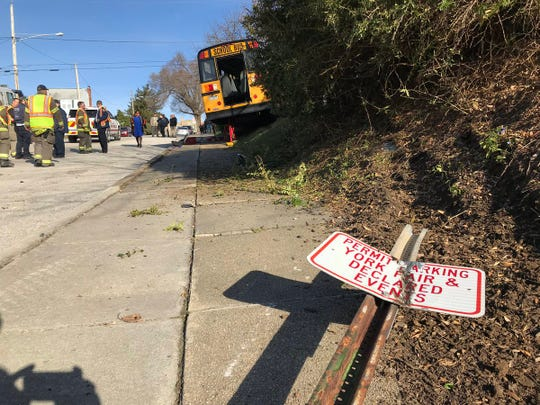 A sign torn down by a bus that crashed on Belvidere Avenue near Maryland Avenue in York.
