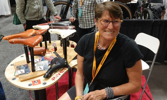 Debra Banks of Sacramento, Calif., at the North American Handmade Bicycle Show in Sacramento in March, 2019. Banks created Rivet Cycle Works, which makes leather saddles for bike riders.