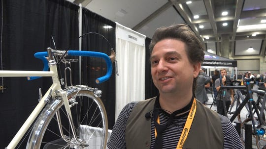 Johnny Coast of Coast Cycles of Brooklyn at the North American Handmade Bicycle Show in Sacramento, Calif., in March, 2019.