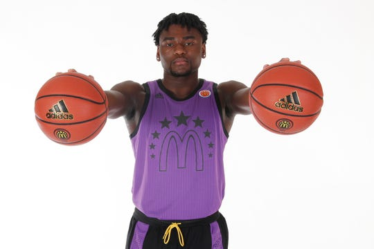 Rochester's Isaiah Stewart (33) poses for a photo on portrait day for the McDonald's All-American Game at the Hilton Hotel Crystal Ball Room before the 2019 McDonalds All American Game.