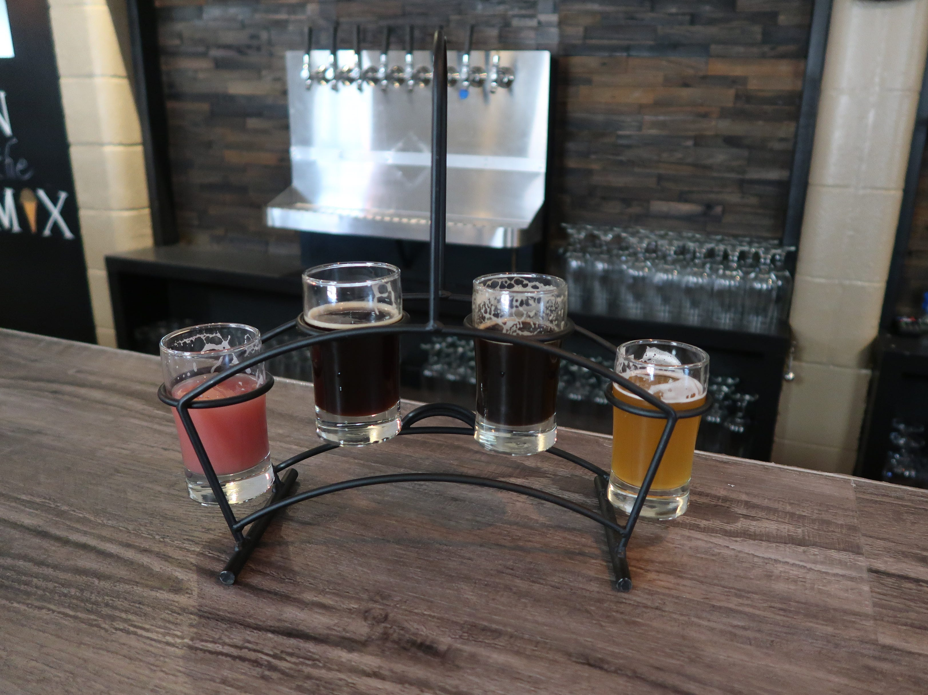 A colorful flight at In The Mix Brewing and Creamery in Barker, Niagara County.