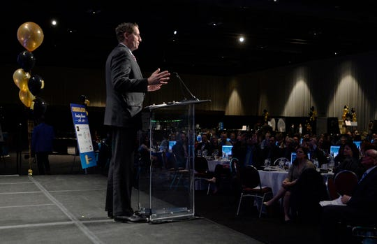 Bob Duffy, Greater Rochester Chamber of Commerce President & CEO, speaks during the 2019 Top Workplaces Award Ceremony at the Rochester Convention Center, Wednesday, March 27, 2019.