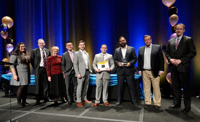 Brighton Securities was among the inaugural honorees for the Rochester's Top Workplaces Diversity, Equity and Inclusion Award this past year. Here, company leaders and employees are pictured at the 2019 Rochester's Top Workplaces celebration at the Joseph A. Floreano Convention Center in downtown Rochester.
