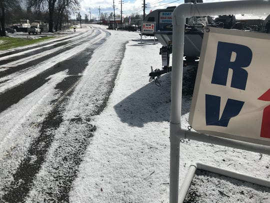 After a hailstorm, the area in north Redding resembled snowstorm.