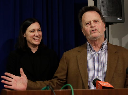 Edwin Hardeman, right, speaks next to attorney Aimee Wagstaff at a news conference in San Francisco.