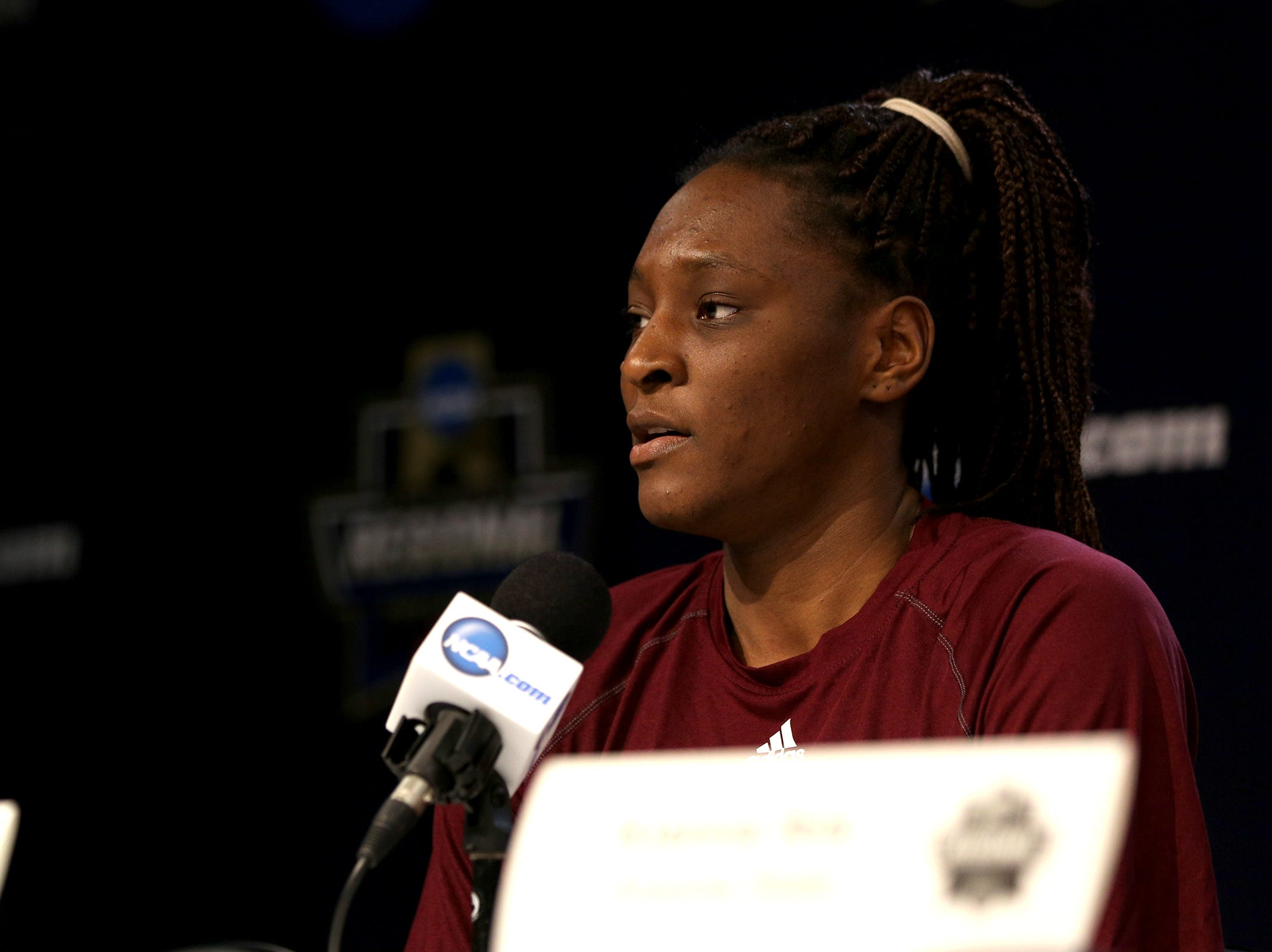 Arizona State University's forward Sophia Elenga answers questions during a press conference prior to the NCAA Women's Regional at the Moda Center in Portland on March 28, 2019.